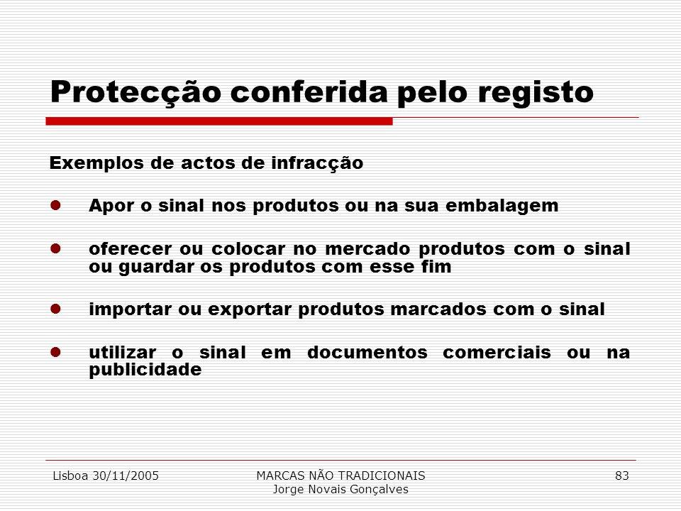Lisboa 30/11/2005MARCAS NÃO TRADICIONAIS Jorge Novais Gonçalves 83 Protecção conferida pelo registo Exemplos de actos de infracção lApor o sinal nos p