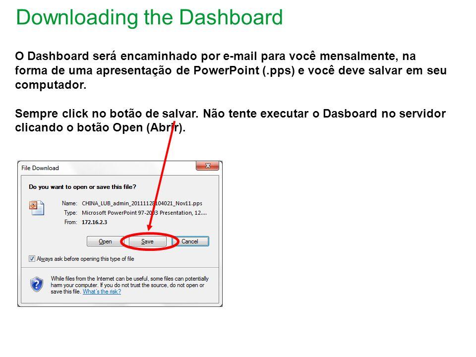 Downloading the Dashboard O Dashboard será encaminhado por e-mail para você mensalmente, na forma de uma apresentação de PowerPoint (.pps) e você deve salvar em seu computador.