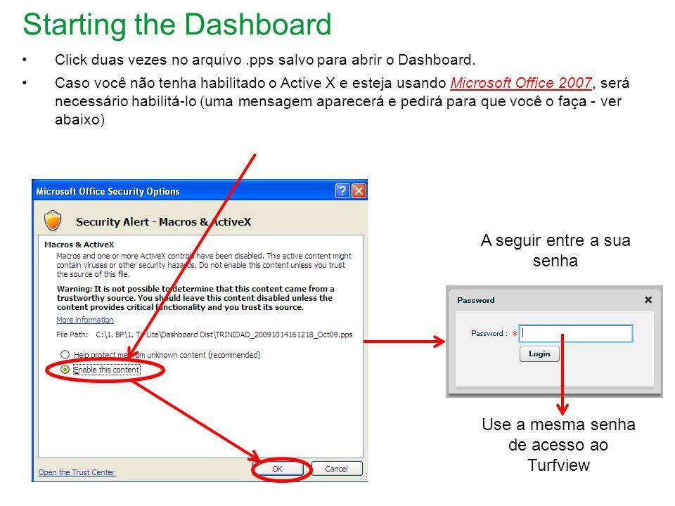 Iniciando o Dashboard – Office 2010 Se estiver utilizando o Office 2010, você precisa configurar as Security Settings.