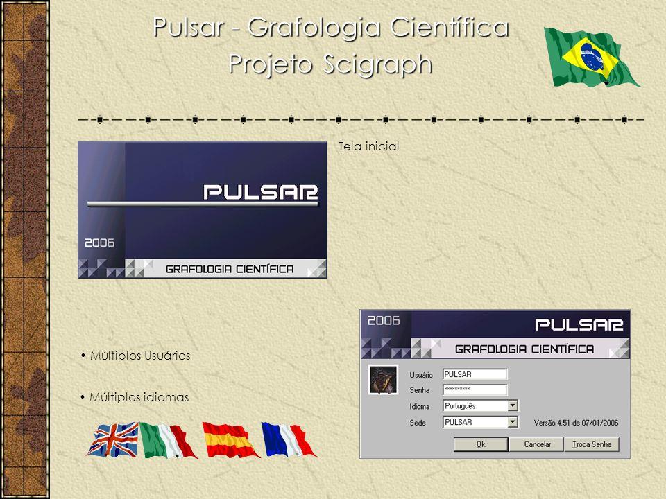 Pulsar - Grafologia Científica Projeto Scigraph Múltiplos Usuários Múltiplos idiomas Tela inicial