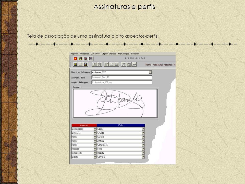 Assinaturas e perfis Tela de associação de uma assinatura a oito aspectos-perfis: