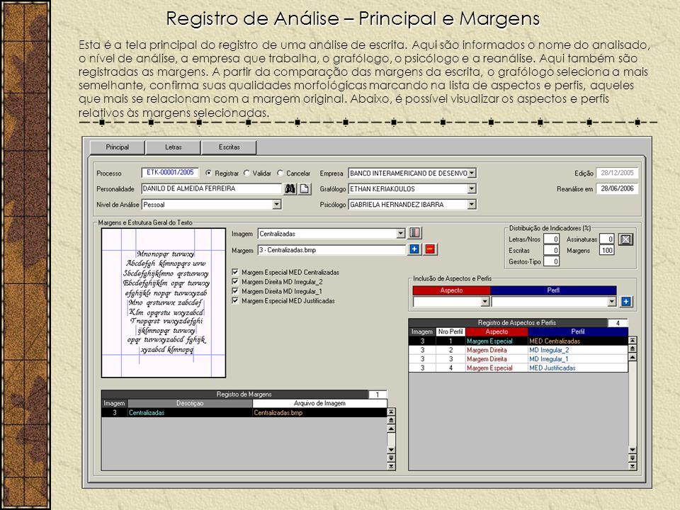 Registro de Análise – Principal e Margens Esta é a tela principal do registro de uma análise de escrita. Aqui são informados o nome do analisado, o ní