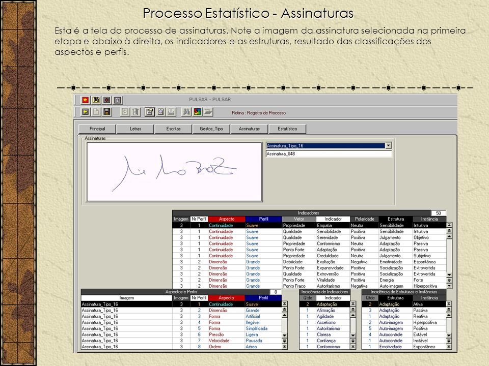 Processo Estatístico - Assinaturas Esta é a tela do processo de assinaturas. Note a imagem da assinatura selecionada na primeira etapa e abaixo à dire