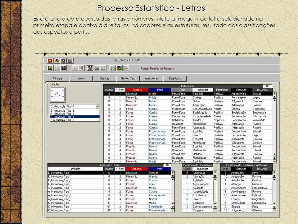 Processo Estatístico - Letras Esta é a tela do processo das letras e números. Note a imagem da letra selecionada na primeira etapa e abaixo à direita,