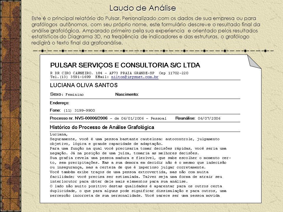 Laudo de Análise Este é o principal relatório do Pulsar. Personalizado com os dados de sua empresa ou para grafólogos autônomos, com seu próprio nome,