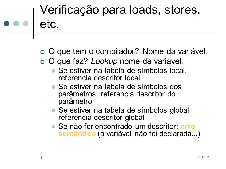 Aula 22 11 Verificação para loads, stores, etc. O que tem o compilador? Nome da variável. O que faz? Lookup nome da variável: Se estiver na tabela de