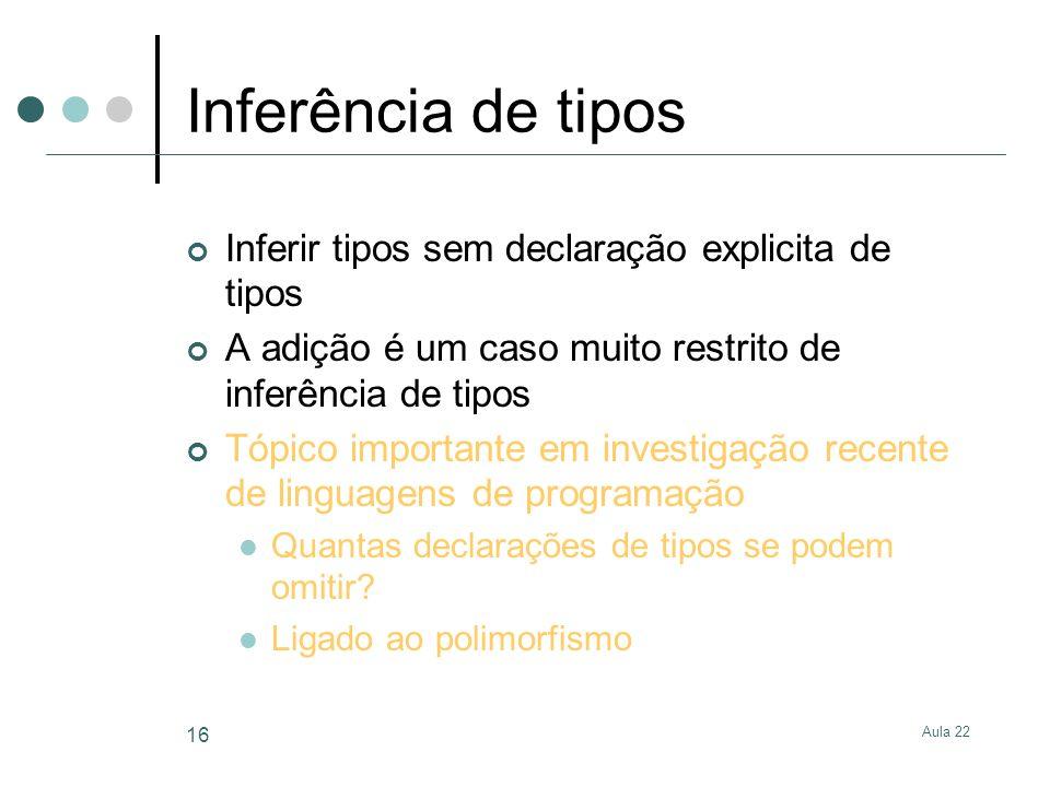 Aula 22 16 Inferência de tipos Inferir tipos sem declaração explicita de tipos A adição é um caso muito restrito de inferência de tipos Tópico importa