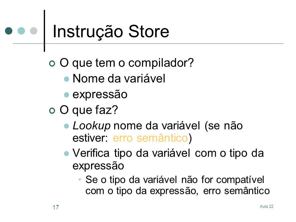 Aula 22 17 Instrução Store O que tem o compilador? Nome da variável expressão O que faz? Lookup nome da variável (se não estiver: erro semântico) Veri