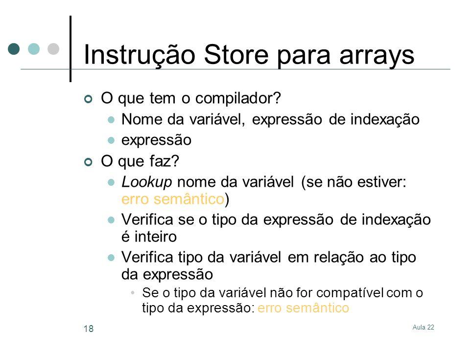 Aula 22 18 Instrução Store para arrays O que tem o compilador? Nome da variável, expressão de indexação expressão O que faz? Lookup nome da variável (