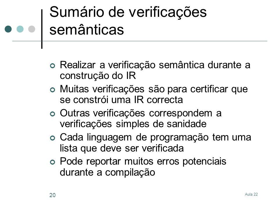 Aula 22 20 Sumário de verificações semânticas Realizar a verificação semântica durante a construção do IR Muitas verificações são para certificar que