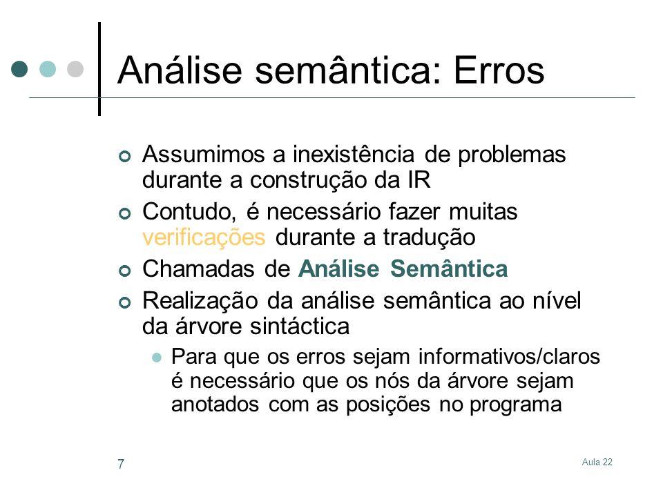 Aula 22 7 Análise semântica: Erros Assumimos a inexistência de problemas durante a construção da IR Contudo, é necessário fazer muitas verificações du