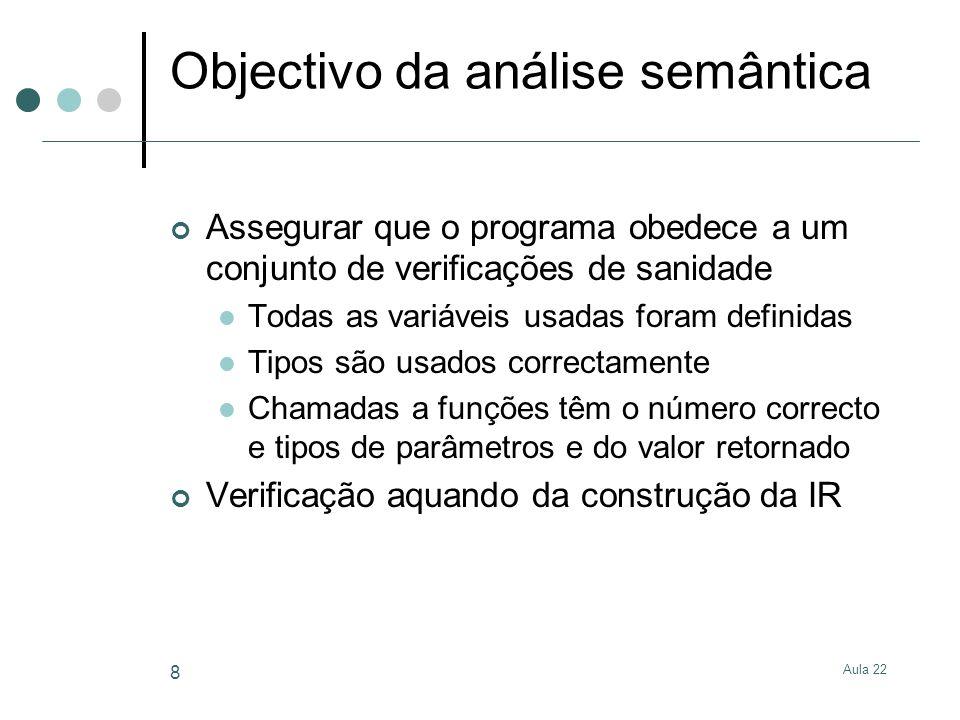 Aula 22 8 Objectivo da análise semântica Assegurar que o programa obedece a um conjunto de verificações de sanidade Todas as variáveis usadas foram de