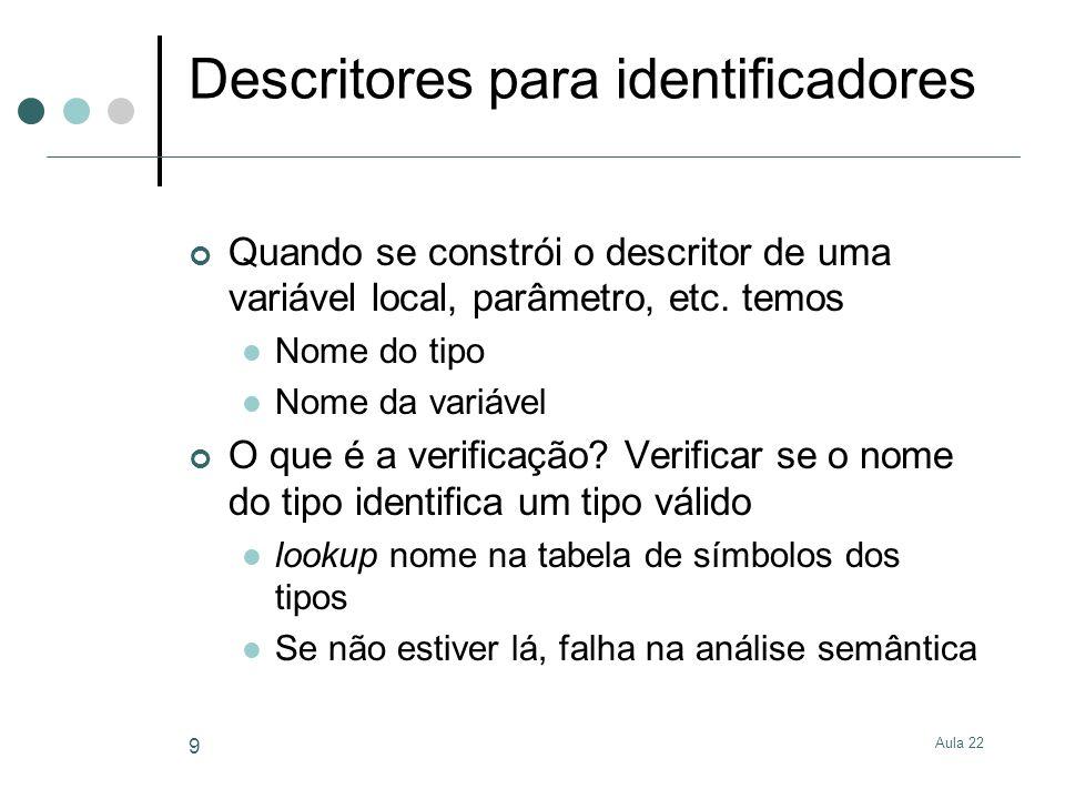 Aula 22 9 Descritores para identificadores Quando se constrói o descritor de uma variável local, parâmetro, etc. temos Nome do tipo Nome da variável O