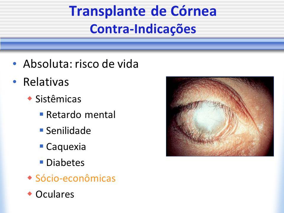 Transplante de Córnea Contra-Indicações Absoluta: risco de vida Relativas Sistêmicas Retardo mental Senilidade Caquexia Diabetes Sócio-econômicas Oculares