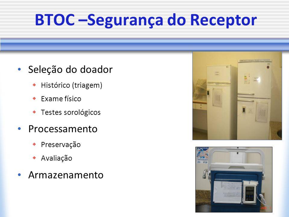 BTOC –Segurança do Receptor Seleção do doador Histórico (triagem) Exame físico Testes sorológicos Processamento Preservação Avaliação Armazenamento