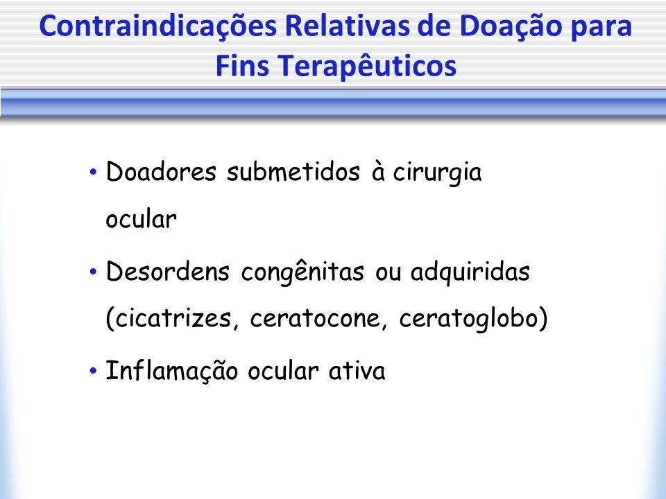 Contraindicações Relativas de Doação para Fins Terapêuticos Doadores submetidos à cirurgia ocular Desordens congênitas ou adquiridas (cicatrizes, ceratocone, ceratoglobo) Inflamação ocular ativa