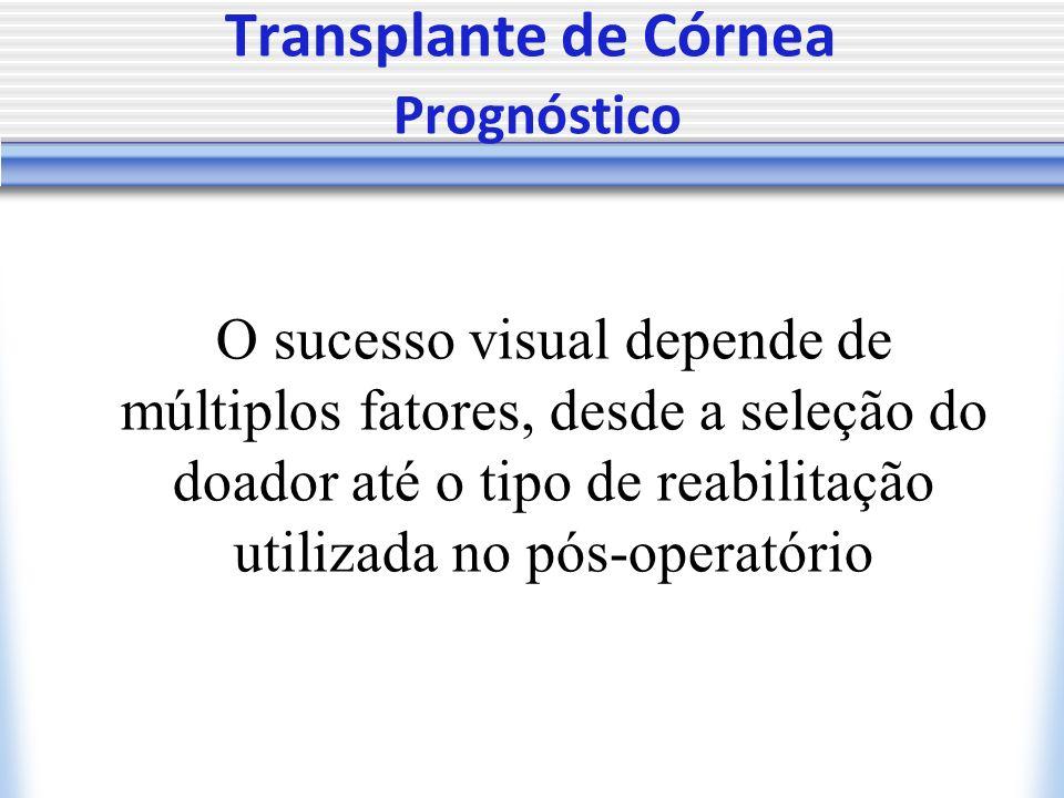 Transplante de Córnea Prognóstico O sucesso visual depende de múltiplos fatores, desde a seleção do doador até o tipo de reabilitação utilizada no pós-operatório