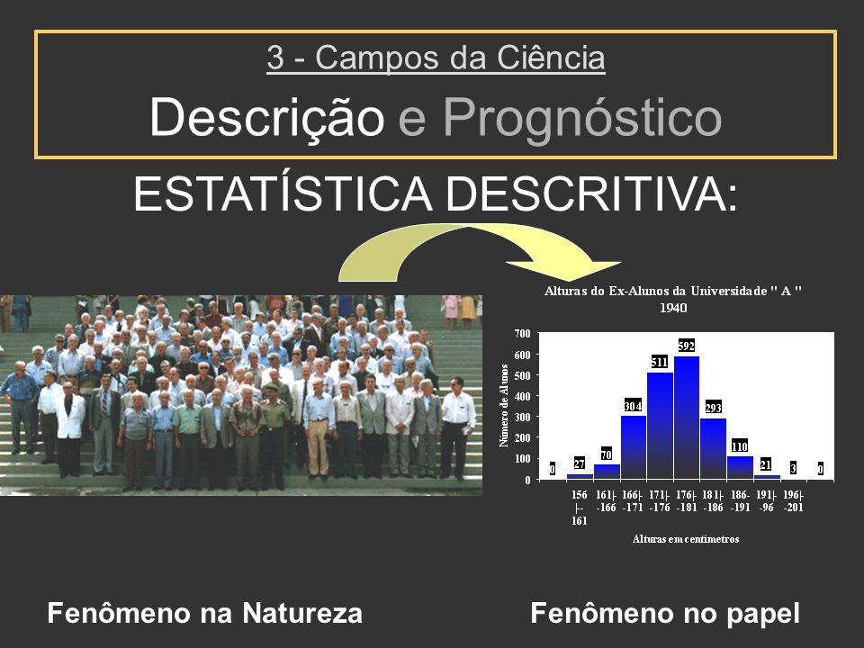 ESTATÍSTICA DESCRITIVA: 3 - Campos da Ciência Descrição e Prognóstico Fenômeno na NaturezaFenômeno no papel