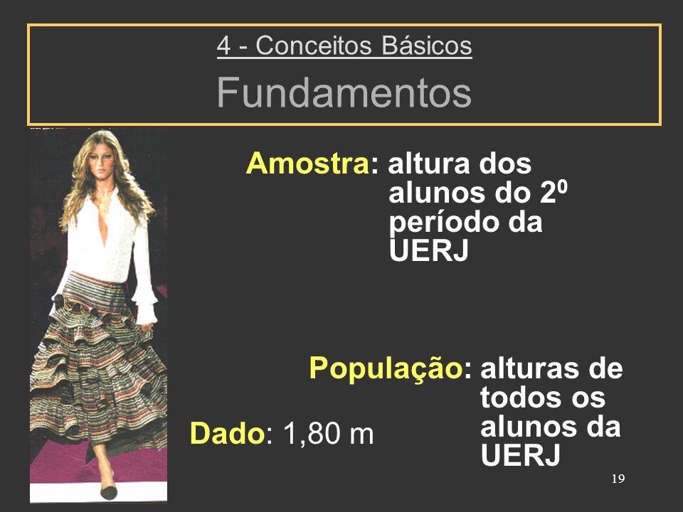 19 4 - Conceitos Básicos Fundamentos Amostra: altura dos alunos do 2 0 período da UERJ População: alturas de todos os alunos da UERJ Dado: 1,80 m