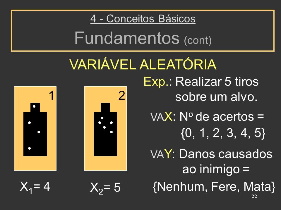22 VARIÁVEL ALEATÓRIA 4 - Conceitos Básicos Fundamentos (cont) Exp.: Realizar 5 tiros sobre um alvo. VA X: N o de acertos = {0, 1, 2, 3, 4, 5} VA Y: D