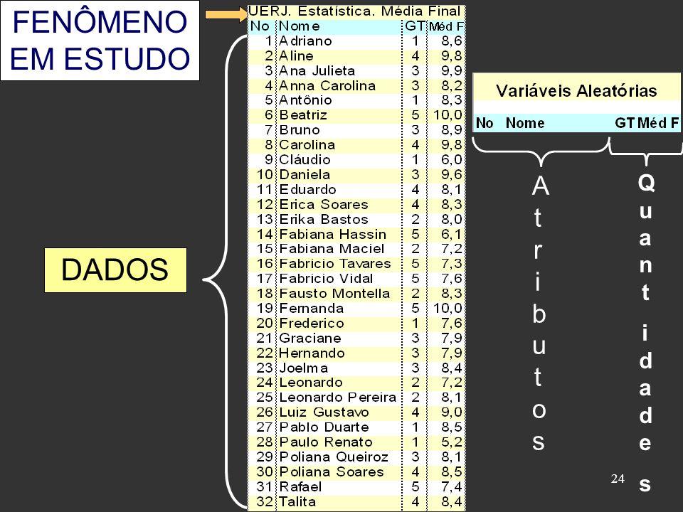 24 FENÔMENO EM ESTUDO DADOS AtributosAtributos QuantidadesQuantidades