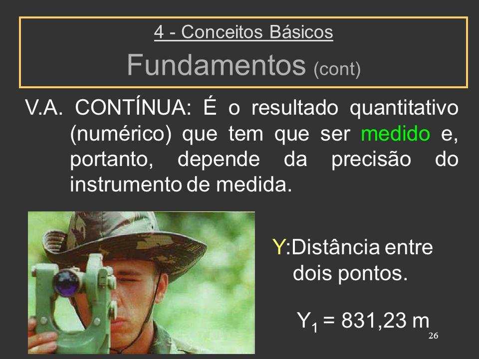26 4 - Conceitos Básicos Fundamentos (cont) V.A. CONTÍNUA: É o resultado quantitativo (numérico) que tem que ser medido e, portanto, depende da precis