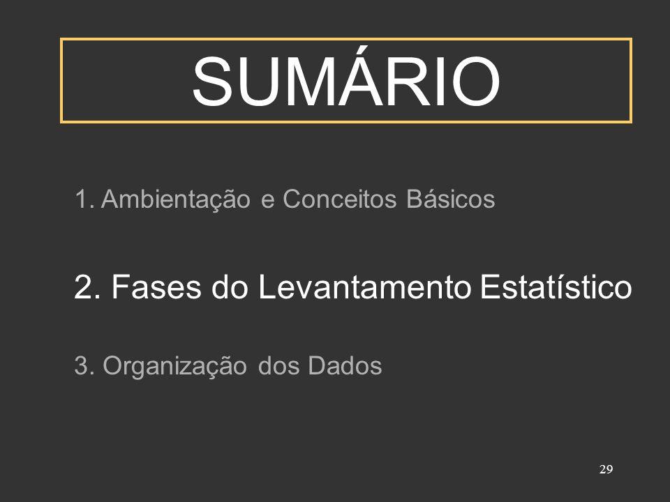29 SUMÁRIO 1. Ambientação e Conceitos Básicos 2. Fases do Levantamento Estatístico 3. Organização dos Dados
