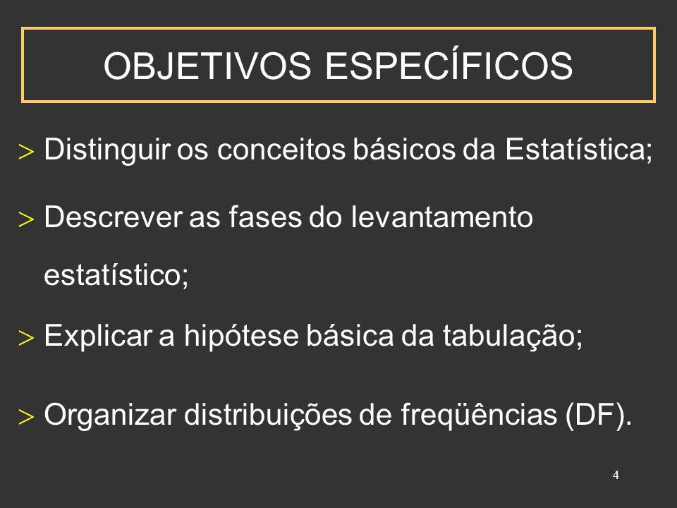 4 OBJETIVOS ESPECÍFICOS Distinguir os conceitos básicos da Estatística; Explicar a hipótese básica da tabulação; Descrever as fases do levantamento estatístico; Organizar distribuições de freqüências (DF).