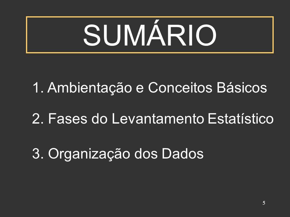 5 SUMÁRIO 1. Ambientação e Conceitos Básicos 2. Fases do Levantamento Estatístico 3. Organização dos Dados