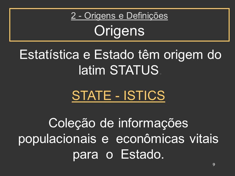 9 Estatística e Estado têm origem do latim STATUS. 2 - Origens e Definições Origens Coleção de informações populacionais e econômicas vitais para o Es