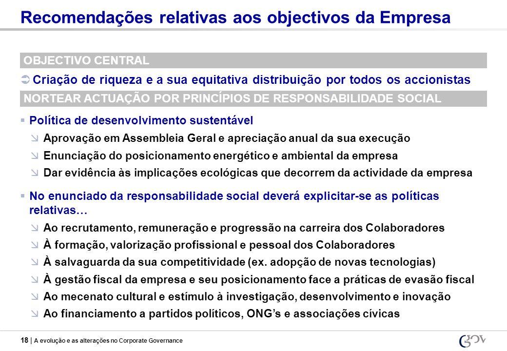 18 | A evolução e as alterações no Corporate Governance Recomendações relativas aos objectivos da Empresa OBJECTIVO CENTRAL Criação de riqueza e a sua