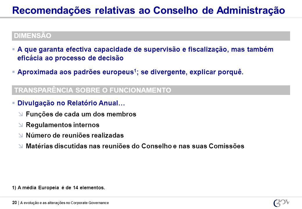 20 | A evolução e as alterações no Corporate Governance Recomendações relativas ao Conselho de Administração DIMENSÃO A que garanta efectiva capacidad