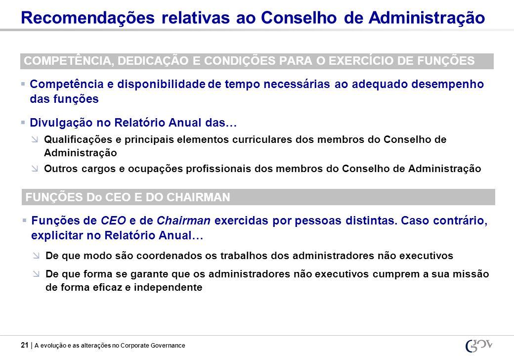 21 | A evolução e as alterações no Corporate Governance Recomendações relativas ao Conselho de Administração COMPETÊNCIA, DEDICAÇÃO E CONDIÇÕES PARA O