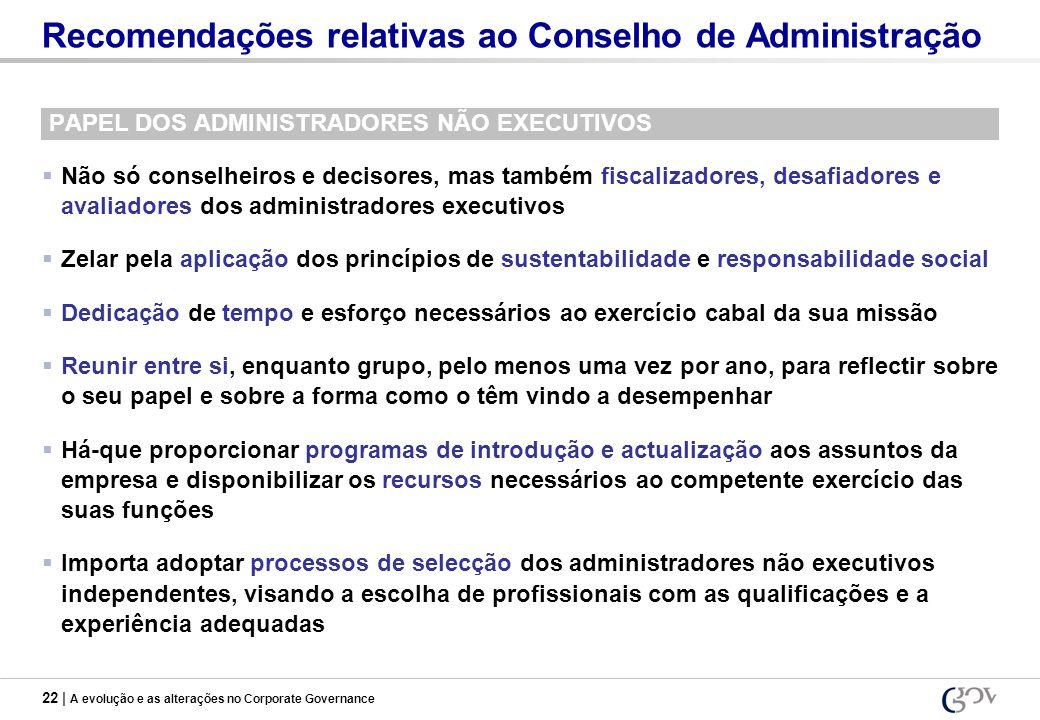 22 | A evolução e as alterações no Corporate Governance Recomendações relativas ao Conselho de Administração PAPEL DOS ADMINISTRADORES NÃO EXECUTIVOS