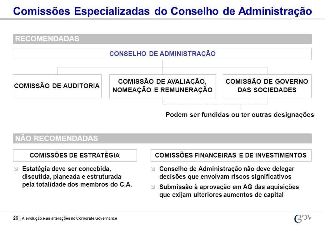 26 | A evolução e as alterações no Corporate Governance Comissões Especializadas do Conselho de Administração COMISSÃO DE AUDITORIA COMISSÃO DE AVALIA