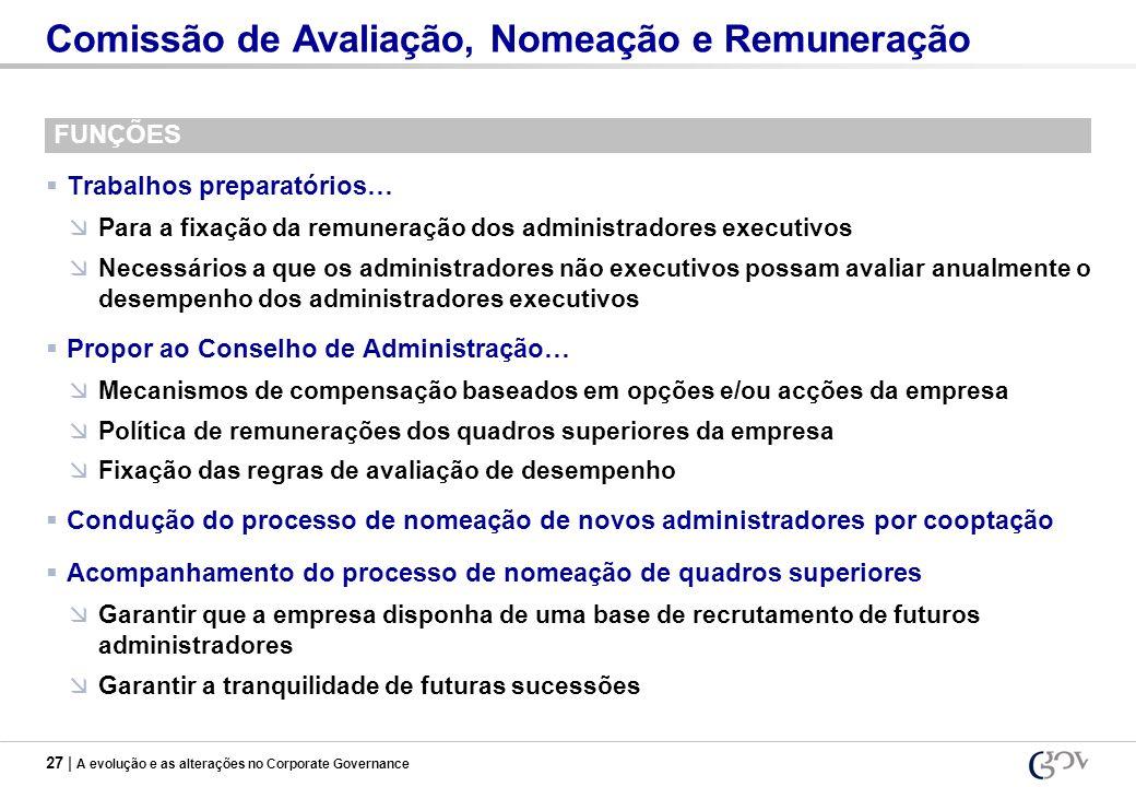 27 | A evolução e as alterações no Corporate Governance Comissão de Avaliação, Nomeação e Remuneração FUNÇÕES Trabalhos preparatórios… Para a fixação