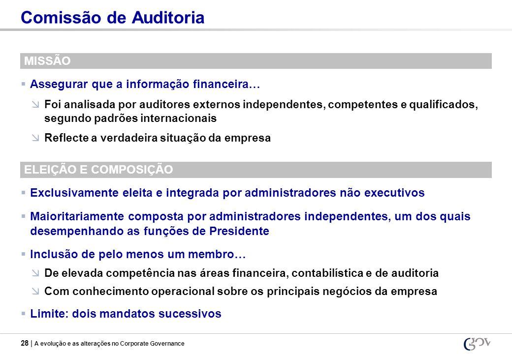 28 | A evolução e as alterações no Corporate Governance Comissão de Auditoria MISSÃO Assegurar que a informação financeira… Foi analisada por auditore