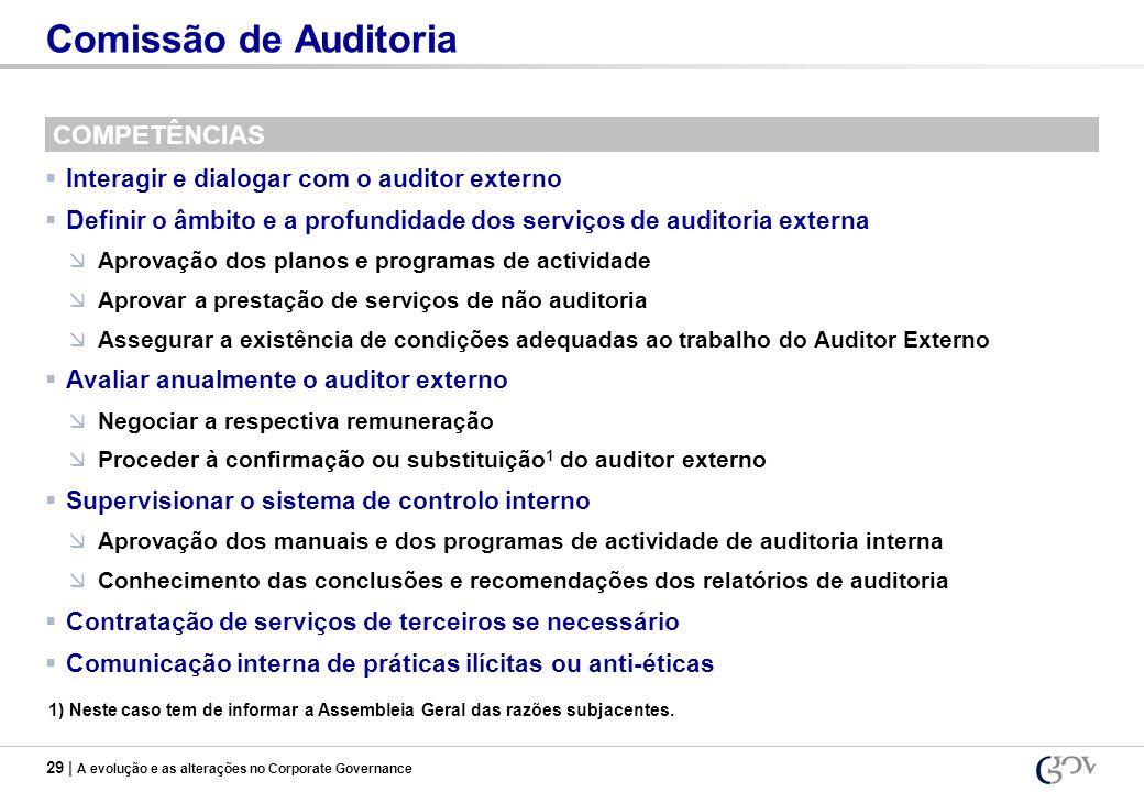 29 | A evolução e as alterações no Corporate Governance Comissão de Auditoria COMPETÊNCIAS Interagir e dialogar com o auditor externo Definir o âmbito