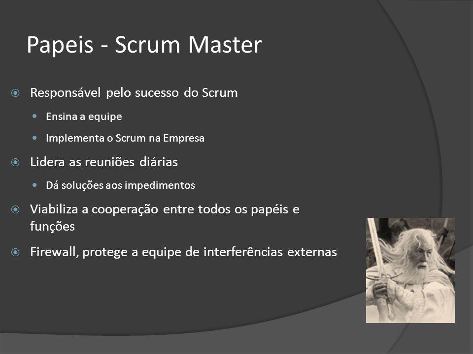 Papeis - Scrum Master Responsável pelo sucesso do Scrum Ensina a equipe Implementa o Scrum na Empresa Lidera as reuniões diárias Dá soluções aos imped