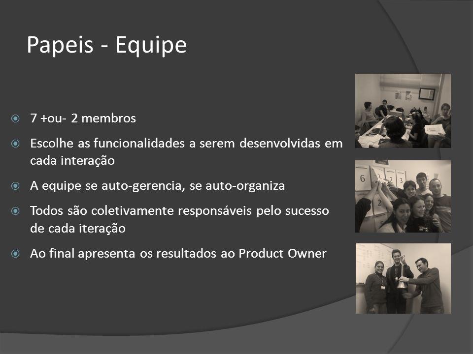Papeis - Equipe 7 +ou- 2 membros Escolhe as funcionalidades a serem desenvolvidas em cada interação A equipe se auto-gerencia, se auto-organiza Todos