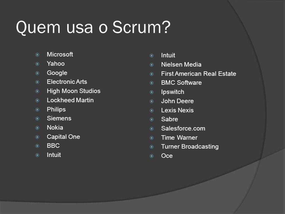 Quem usa o Scrum? Microsoft Yahoo Google Electronic Arts High Moon Studios Lockheed Martin Philips Siemens Nokia Capital One BBC Intuit Nielsen Media