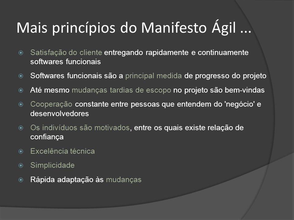 Mais princípios do Manifesto Ágil... Satisfação do cliente entregando rapidamente e continuamente softwares funcionais Softwares funcionais são a prin