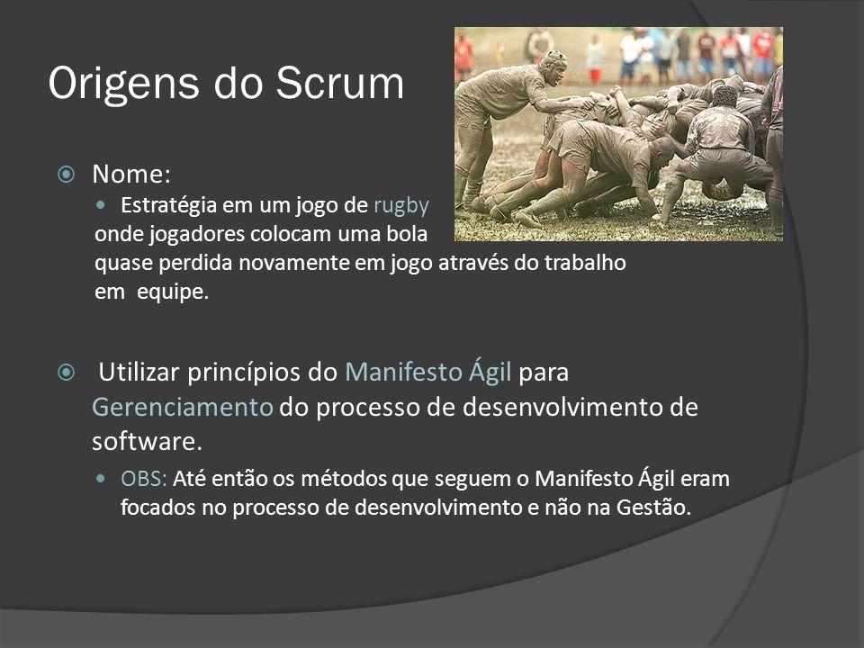 Origens do Scrum Nome: Estratégia em um jogo de rugby onde jogadores colocam uma bola quase perdida novamente em jogo através do trabalho em equipe. U