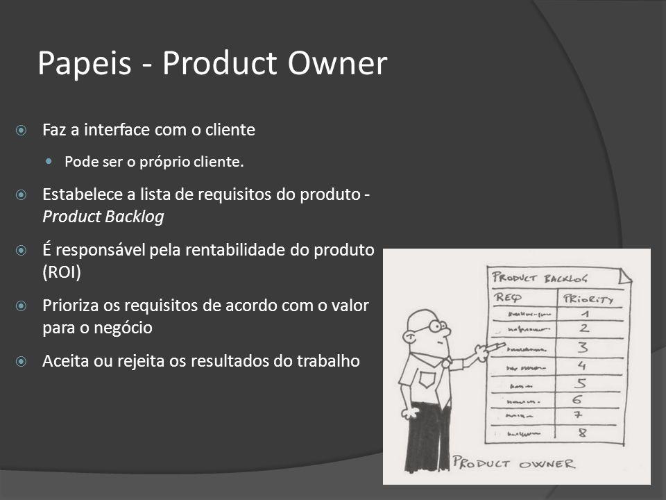 Papeis - Product Owner Faz a interface com o cliente Pode ser o próprio cliente. Estabelece a lista de requisitos do produto - Product Backlog É respo