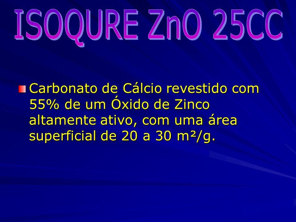 Carbonato de Cálcio revestido com 55% de um Óxido de Zinco altamente ativo, com uma área superficial de 20 a 30 m²/g.