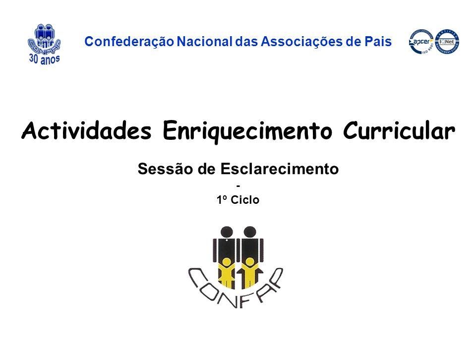 Actividades Enriquecimento Curricular Sessão de Esclarecimento - 1º Ciclo Confederação Nacional das Associações de Pais