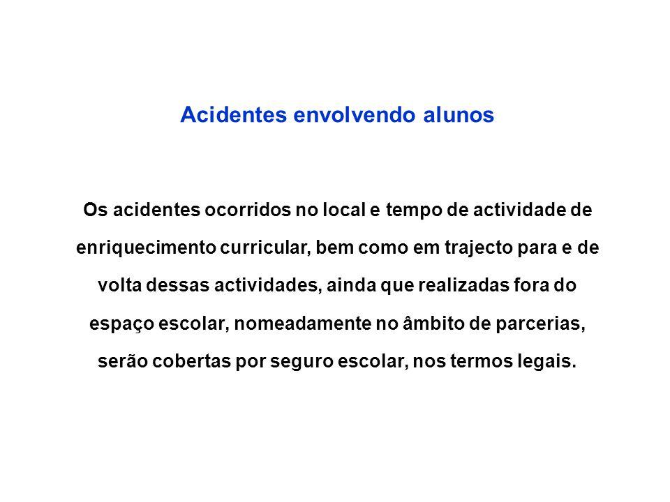 Acidentes envolvendo alunos Os acidentes ocorridos no local e tempo de actividade de enriquecimento curricular, bem como em trajecto para e de volta d