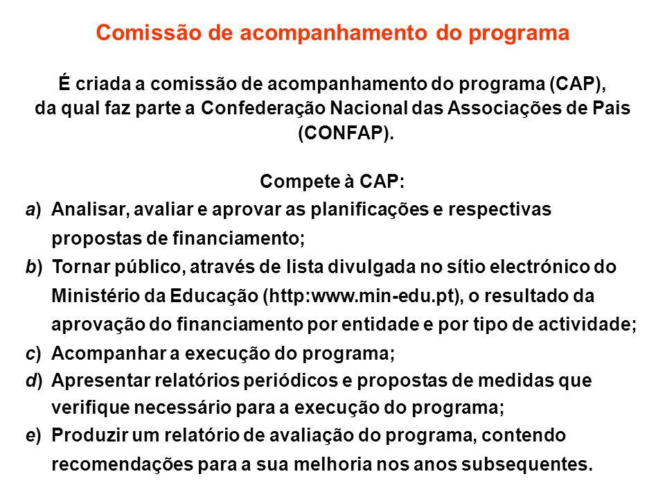 Comissão de acompanhamento do programa É criada a comissão de acompanhamento do programa (CAP), da qual faz parte a Confederação Nacional das Associaç