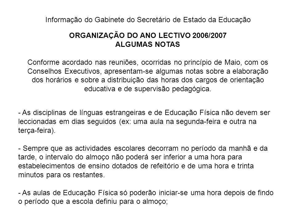 Informação do Gabinete do Secretário de Estado da Educação ORGANIZAÇÃO DO ANO LECTIVO 2006/2007 ALGUMAS NOTAS Conforme acordado nas reuniões, ocorrida