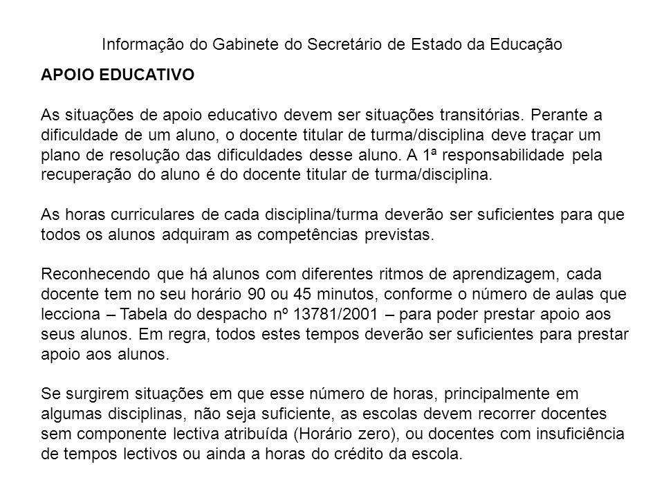 Informação do Gabinete do Secretário de Estado da Educação APOIO EDUCATIVO As situações de apoio educativo devem ser situações transitórias. Perante a